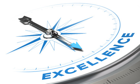 konzepte: Exzellenz Hintergrund Konzept. Kompassnadel zeigt eine blaue Wort, dekorative Bild passend für die linke untere Winkel einer Seite.