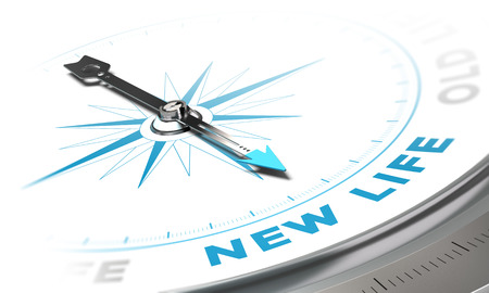 New life background concept. Compass needle pointing a blue word, decorative image suitable for left bottom angle of a page.