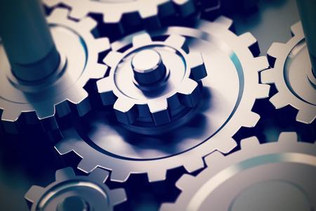 engranajes: engranajes o ruedas dentadas trabajando juntos, transmisi�n de movimiento. Concepto de trabajo en equipo Foto de archivo