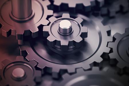 gears: Concepto de trabajo en equipo, engranajes trabajando juntos, símbolo mecánica.
