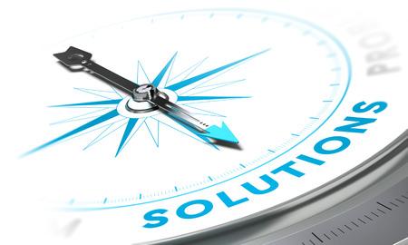 Boussole avec aiguille pointée les solutions de mots, tons blancs et bleus. Image de fond pour illustrer solution d'affaires Banque d'images