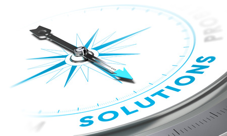 business words: Compass with needle pointing the word solutions, white and blue tones. Background image for illustration of business solution