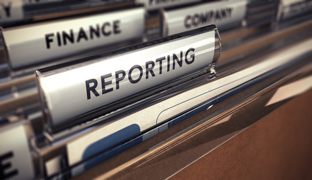 Close up on a file tab with the word reporting, focus on the main text and blur effect. Concept image for illustration of business report.