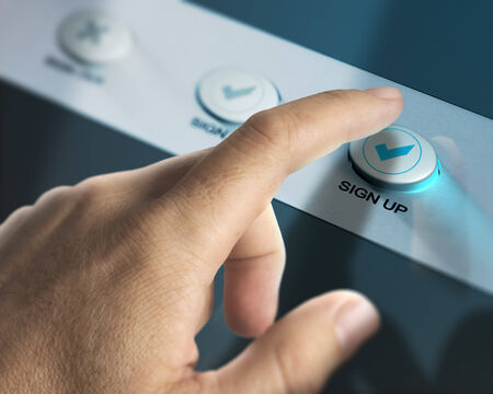 signup: One finger pressing a sign up button over aluminum background, concept image for registration of new member.