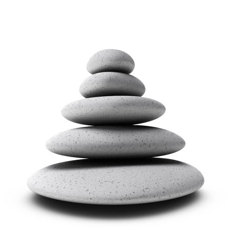 Pile of grey pebbles over white background. Symbol of stability