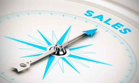Compass with needle pointing the word sales, white and blue tones. Background image for illustration of sales goals 스톡 콘텐츠