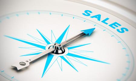 Kompas met naald naar het woord verkoop, witte en blauwe tinten. Achtergrond afbeelding voor een illustratie van de verkoop doelstellingen Stockfoto
