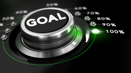 attain: Switch button positioned on the number 100 percent, black background and green light. Conceptual image for illustration of goals achievement.