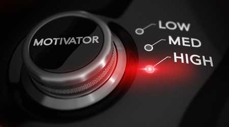 motivator: Switch button positioned on the word high, black background and red light. Conceptual image for illustration of motivation level.