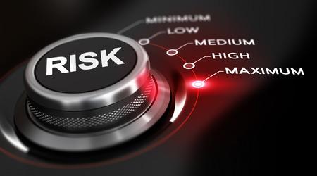 Schakel knop gepositioneerd op het woord maximale, zwarte achtergrond en rood licht. Conceptuele afbeelding voor de illustratie van een hoge mate van risico's.