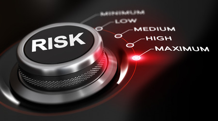 risk management: Switch button positioned on the word maximum, black background and red light. Conceptual image for illustration of high level of risks. Stock Photo