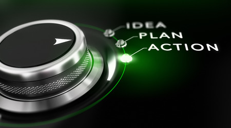 the project: Switch button positioned on the word action, black background and green light. Conceptual image for illustration of business action plan.