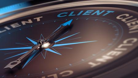 brujula: Br�jula con la aguja hacia la palabra cliente, imagen del concepto para ilustrar CRM, gesti�n de relaciones con los clientes. Foto de archivo