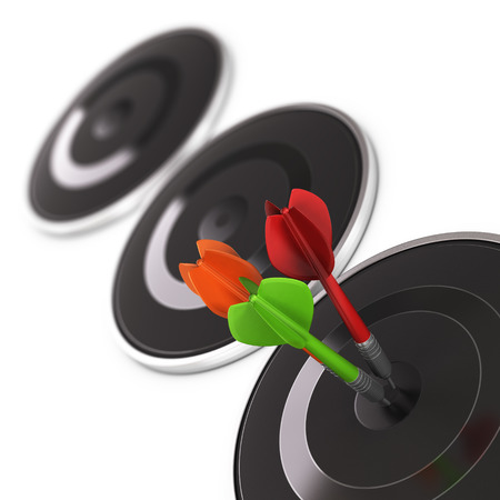 attain: Three darts hitting the center of a black modern target over white background. Business opportunity concept. Design element.