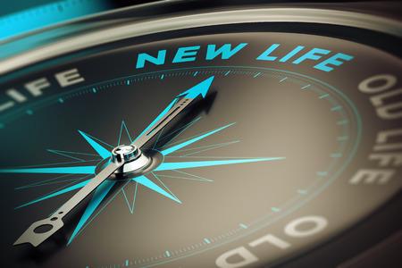 brujula: Comp�s con aguja apuntando la palabra nueva vida, concepto de imagen para ilustrar el cambio concepto de motivaci�n. Foto de archivo