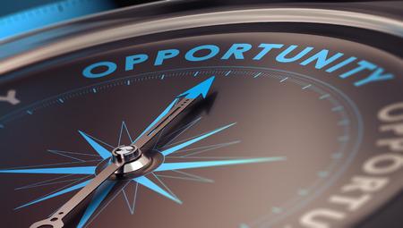 Bussola con ago rivolto la parola opportunità, concetto di immagine per illustrare le opportunità di business e la strategia. Archivio Fotografico