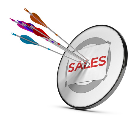 Five arrows hitting the center of a sheet of paper with the word sales fixed on a modern target. Concept to illustrate successful sales team prospection or strategy. 3D render.