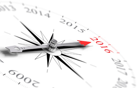 Conceptual compass with needle pointing the year 2016, black and red tones over white background. Concept image for illustration of future.