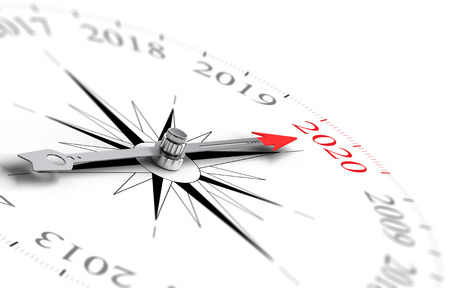 two visions: Conceptual compass with needle pointing the year 2020, black and red tones over white background. Concept image for illustration of future. Stock Photo