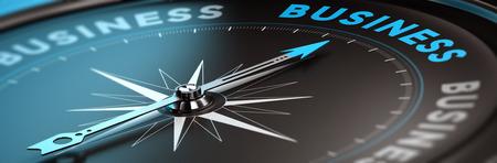 Conceptuele kompas met naald naar het woord bedrijf, zwart en blauw tinten. Concept afbeelding achtergrond voor illustratie van business consulting.