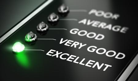 evaluacion: Excelente concepto de calidad, de excelencia Ilustración sobre fondo negro con la luz verde y efecto de desenfoque.