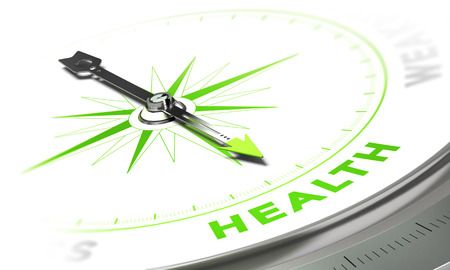and living: Compass with needle pointing the word health, white and green tones. Background image for illustration of medical concept