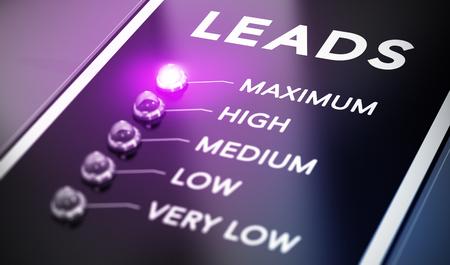 Concepto de generación de leads, Ilustración de la comercialización del Internet sobre fondo negro con la luz púrpura y efecto de desenfoque. Foto de archivo