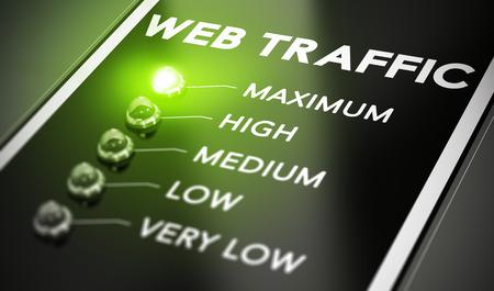 incremento: Concepto de tráfico Web, Ilustración de seo sobre fondo negro con la luz verde y efecto de desenfoque.