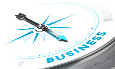 adviser: Compass with needle pointing the word business, white and blue tones. Background image for illustration of solutions concept