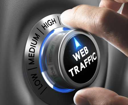 web optimization: Web traffic button pointing high position with two fingers, blue and grey tones, Conceptual image for internet seo.