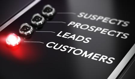 Illustrazione di internet marketing su sfondo nero con luce rossa e l'effetto di sfocatura. Concetto di conversione di piombo.