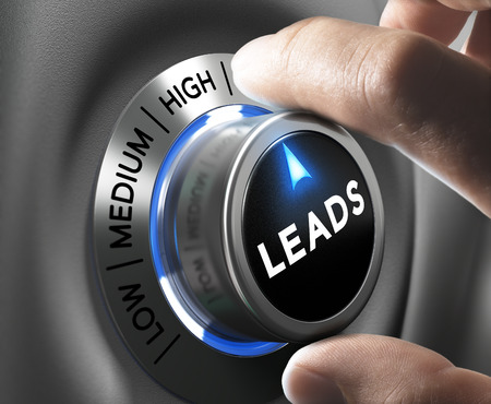 Leads button pointing  high position with two fingers, blue and grey tones, Conceptual image for increasing sales lead.