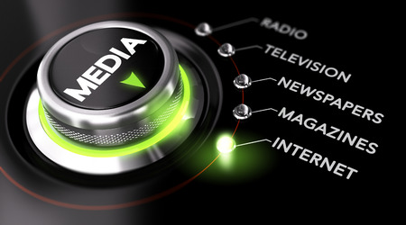 Bouton positionné sur le mot Internet, fond noir et vert basculer. Image conceptuelle pour illustrer Marketing Publicité campagne et la stratégie de communication Banque d'images - 36045984