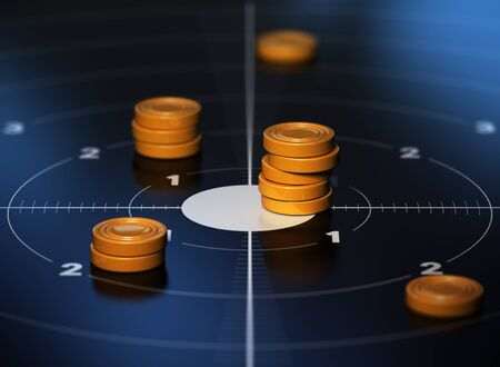 tokens: Many tokens in the center of a target with blue background. Conceptual illustration od SMART objective or measurable goal.