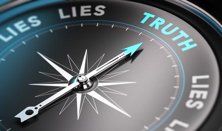 Bussola nera con l'ago rivolto la parola verità. Toni di blu. Immagine di sfondo per l'illustrazione di soluzioni concept