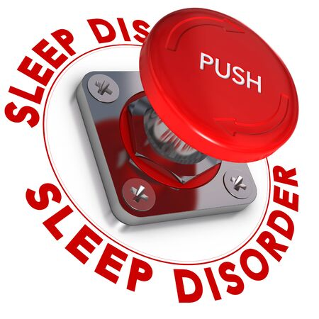 panic button: Sleep disorder word written around a panic button, white background, somnipathy concept Stock Photo