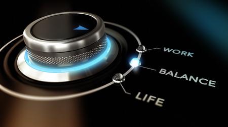 Schalten Taste auf das Wort Gleichgewicht befindet, mit zwei anderen Optionen Arbeit und Leben, schwarzem Hintergrund und blauem Licht. Konzeptionelle Bild für Darstellung der Lifestyle-Konzept Standard-Bild