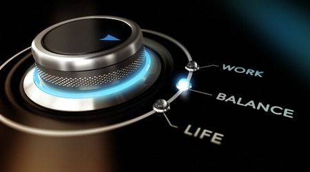 work life balance: Switch button positioned on the word balance, with two other options work and life, black background and blue light. Conceptual image for illustration of lifestyle concept