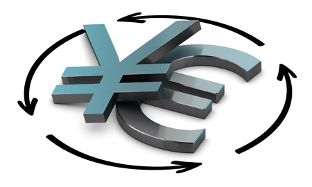 parity: Euro and Yen symbols with four circular arrows over white background , Illustration of exchange between two currencies.