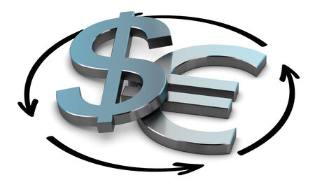 eur: EUR and USD Pair over white background with arrow symbol of exchange Stock Photo