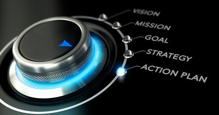Schakelaar knop met blauw licht, zwarte achtergrond. Conceptuele afbeelding voor de illustratie van zakelijke actieplan. Stockfoto