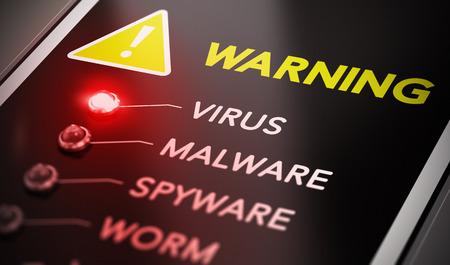 virus informatico: Concepto de ataque de virus. Panel de control con luz roja y advertencia. Símbolo de la imagen conceptual de la infección por ordenador.