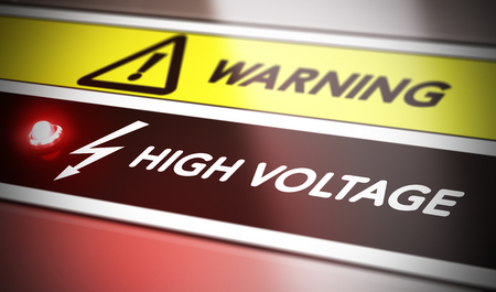 shock: Electric shock concept. Control panel with red light and warning. Conceptual image symbol of electrocution risk.