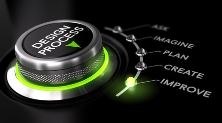 Switch button with green light, black background. Conceptual image for illustration of engineering design process.