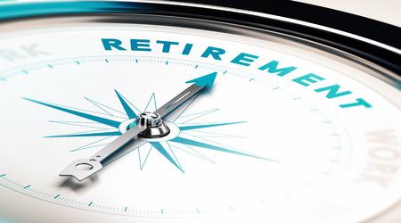 planeaci�n: Comp�s con aguja apuntando la palabra jubilaci�n, concepto de imagen para ilustrar la planificaci�n de la jubilaci�n