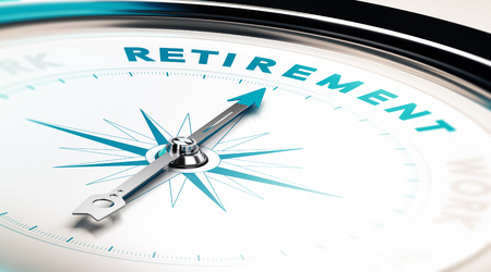 Compass with needle pointing the word retirement, concept image to illustrate retirement planning Stockfoto