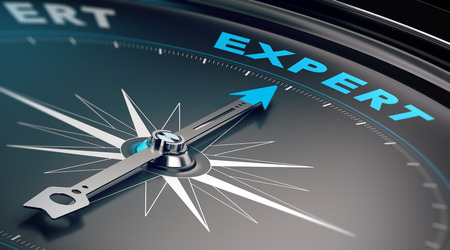 Compass with needle pointing the word expert, concept image to illustrate business consulting and advisory. Stockfoto