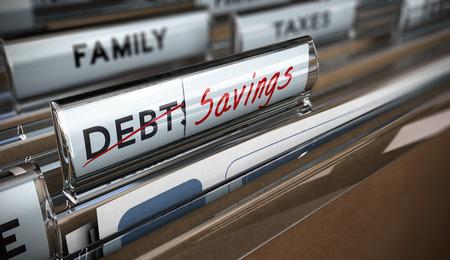 repayment: File tab with focus on savings. Conceptual image for illustration of debt vs savings