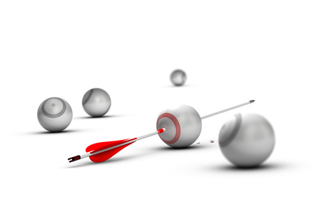 exceeding: Concept image for illustration of setting goals and achieve them. Sphere targets over white background with one arrow hitting the center of the red one Stock Photo