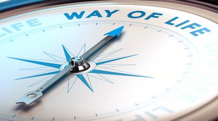 vida: Compás con la aguja que señala el camino de la vida de texto, imagen del concepto para ilustrar los cambios en la vida, azul y tonos beige.